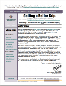 Getting a Better Grip | LeadershipTraction Newsletter