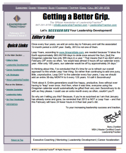 Getting a Better Grip. | LeadershipTraction Newsletter