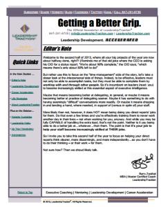 Getting a Better Grip.   LeadershipTraction Newsletter